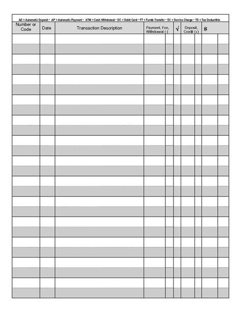 blank checkbook register blank check register projects