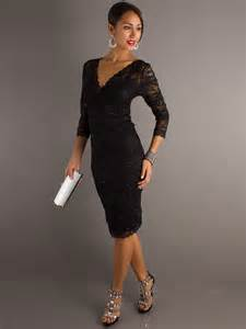black dress wedding guest black lace v neckline three quarter sleeves and sequined trim wedding guest dresses
