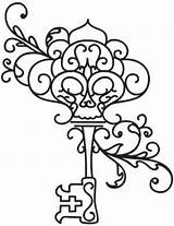 Key Skeleton Coloring Keys Pages Embroidery Tattoos Outline Drawing Designs Giant Lock Tattoo Colouring Adult Urbanthreads Animal Pattern Drawings Heart sketch template
