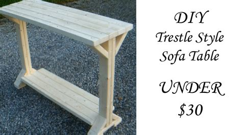 diy trestle style sofa table   youtube