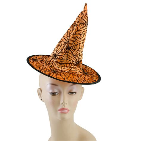 orange witch hat 10 quot satin spider web witch hat orange black hh728620