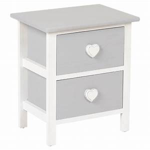 Table De Nuit Fille : hartleys cabinet commode table de nuit chevet blanc gris coeur chambre fille ebay ~ Melissatoandfro.com Idées de Décoration