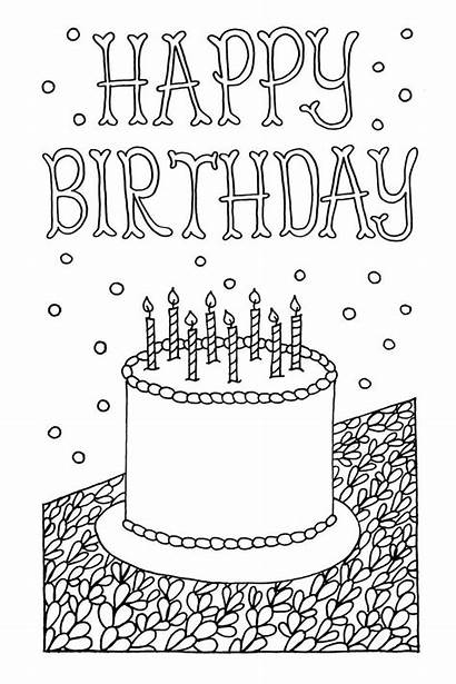 Coloring Cards Adult Birthday Pages Greeting Downloadable