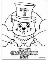 Groundhog Coloring Pages Printables Adorable Head Hat sketch template