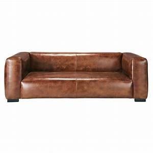 canape 3 4 places en cuir marron john maisons du monde With tapis jonc de mer avec canapé 4 places droit