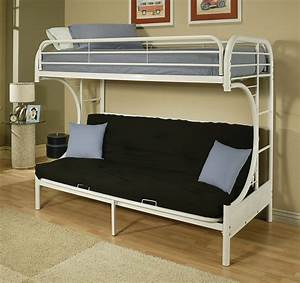 White metal c shape twin over full futon bunk bed with ladder for Metal bunk beds twin over full futon