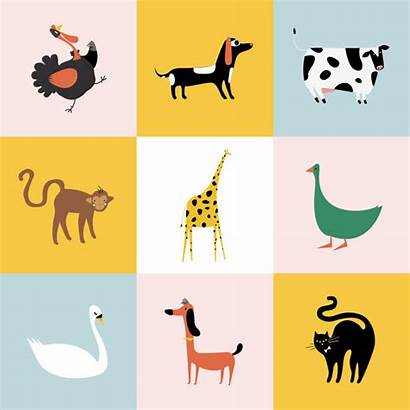 Collage Animals Different Kinds Vector Dog Rather