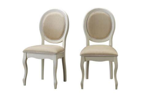 chaise médaillon pas cher lot de 2 chaises médaillon en tissu coloris écru