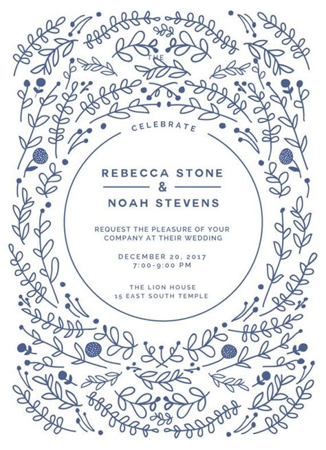 custom printable wedding invitation rectangle