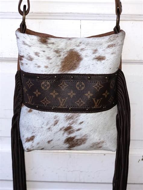 cowhide purse upcycled louis vuitton henry brown white cowhide gift   hank henrietta