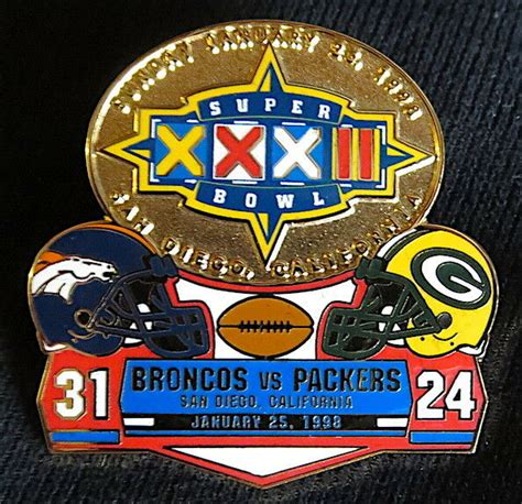 Super Bowl 32 ~ Denver Broncos Packers Final Score Lapel