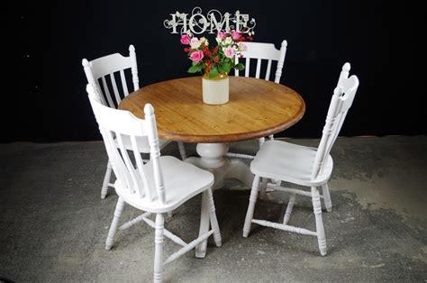 pedestal pine table 4 farmhouse chairs painted