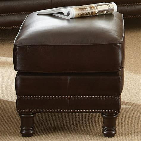 chocolate leather ottoman chateau leather ottoman nail heads antique chocolate 2186
