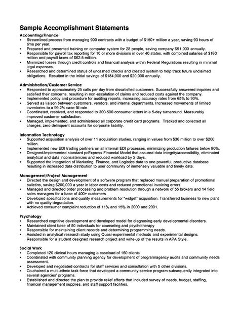 listing academic achievements on resume resume accomplishment statements exles
