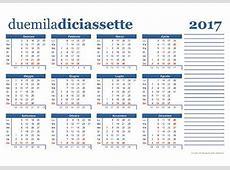 Calendario 2017 da scaricare gratis e stampare
