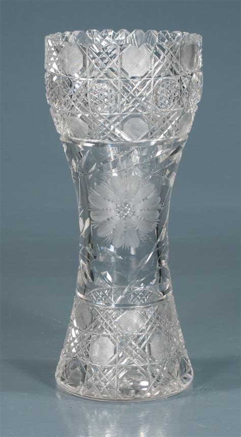glass vase with top cut glass vase with scalloped top with etched floral and dia