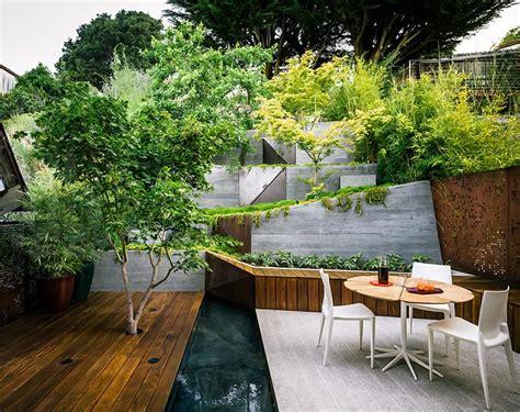 multi layered japanese style garden  sitting area