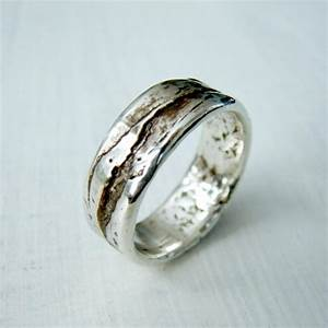 simple sterling silver birch bark or wood grain mountain With country wedding ring