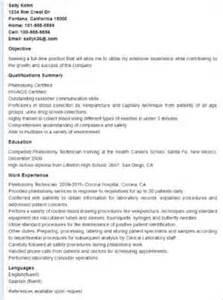 phlebotomy tech resume sle resume phlebotomy and free resume on