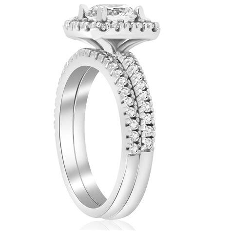 1 1 5ct diamond cushion halo engagement ring wedding band