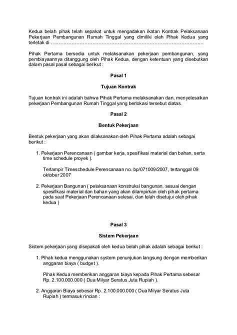 contoh kontrak kerja antara pemborong