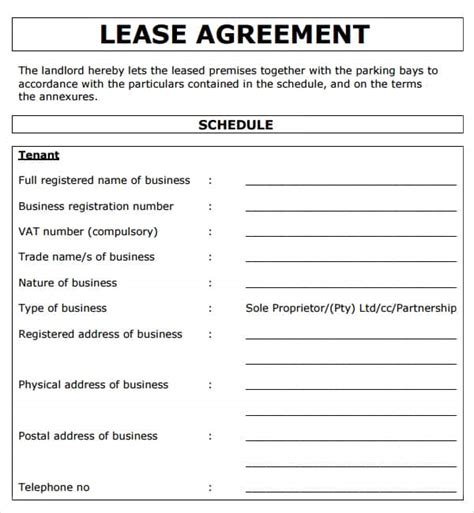 commercial lease agreement templates excel  formats