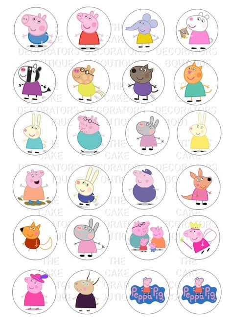 rice paper l 24 peppa pig characters iced icing cupcake topper edible