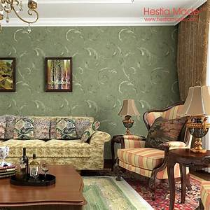 Non woven wallpaper American Antique Style Dark Green ...