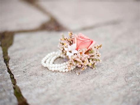 blush corsage pearl bracelet utah wedding flowers calie