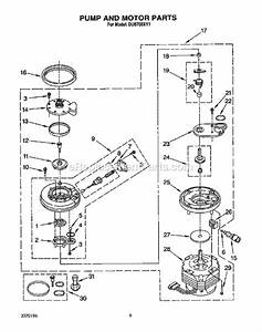 whirlpool du8700xy1 parts list and diagram With 3367443 pump and motor diagram and parts list for whirlpool dishwasher