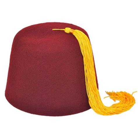village hat shop maroon fez with gold tassel fez