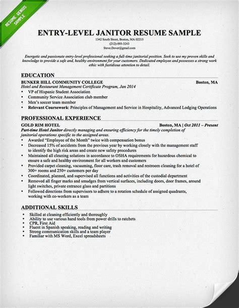 Janitor Resume Duties by Janitor Resume Sle