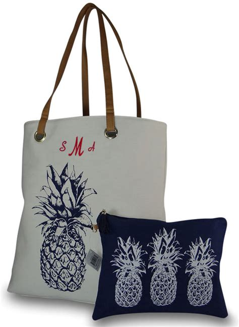 personalized pineapple beach tote  accessory bag