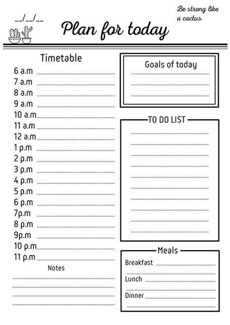 daily schedule printable daily checklist hourly