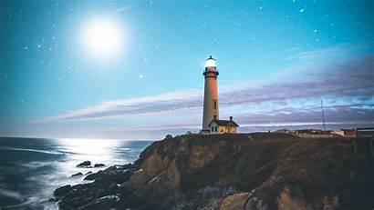 Lighthouse 4k Starry Sky Shore Coast Background