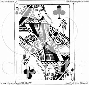Clipart of a Vintage Black and White Queen of Clubs ...