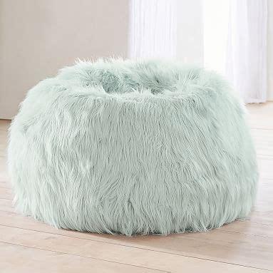 sky blue fur rific faux fur bean bag chair pottery barn teen