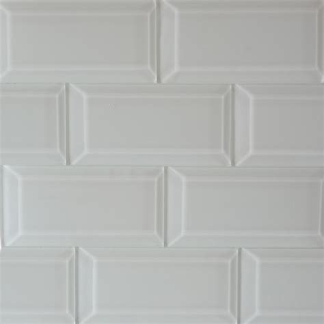 beveled subway glass mosaic tile white gloss modern