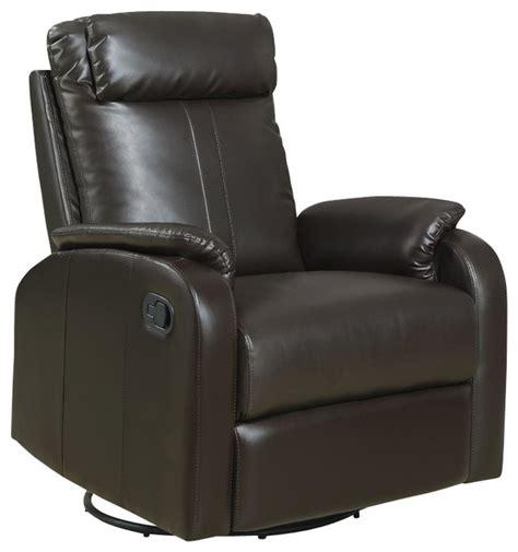 recliner swivel rocker brown bonded leather fabric