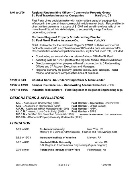 commercial insurance underwriter resume sle 28 images