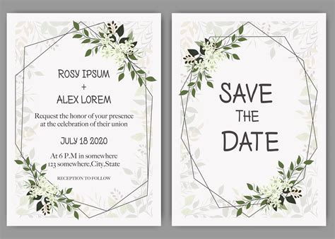 Wedding invite invitation save the date card design with