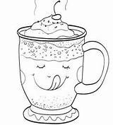 Chocolate Coloring Pages Printable Winter Cup Christmas Whipped Cream Sheets sketch template