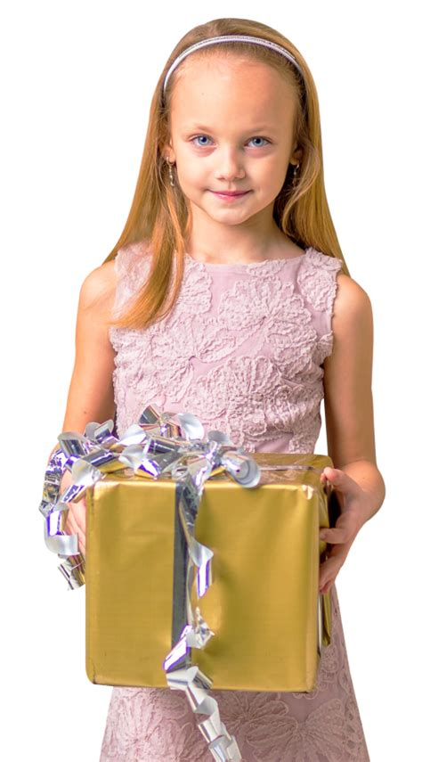 cute girl holding gift box png image pngpix