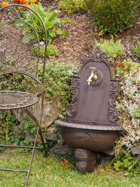 Waschbecken Wandbrunnen Garten Alu Antik Stil Brunnen