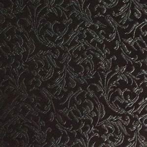 Brocade Fabric-Brocade Tonal Floral Scroll Black