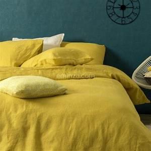 Housse De Couette Lin Lavé Bensimon : housse de couette 240 cm lin lav sonate jaune safran linge de lit eminza ~ Farleysfitness.com Idées de Décoration