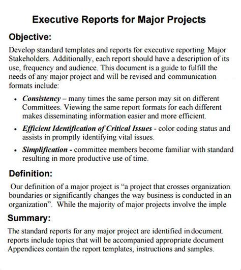 executive report template 6 sle executive reports sle templates