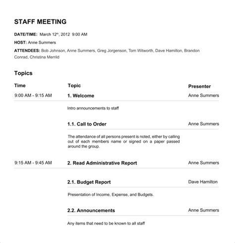 board meeting agenda templates