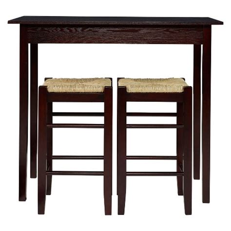 piece counter height table set woodbrown linon home