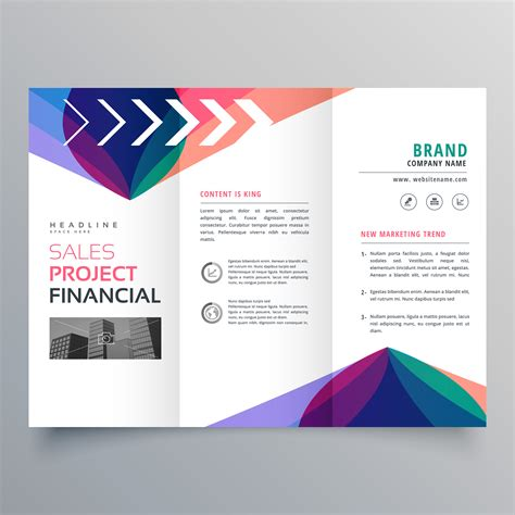 Brochure Design With Trifold Colorful Template Business Trifold Brochure Template With Colorful Abstract